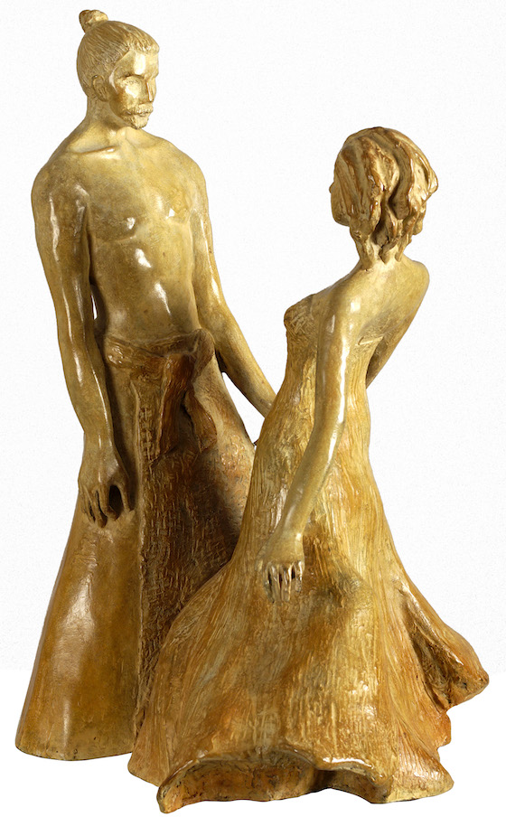 Samouraï, samurai, love, romantic, art, bronze, sculpture, romantique, gold, or, couple, amour, love