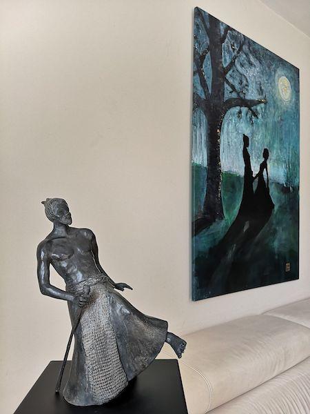 samouraï, baton, asie, bronze, art, sculpture,