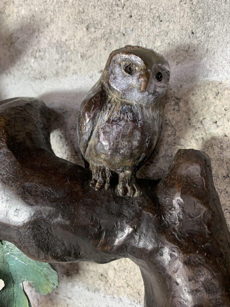 chouette-bronze-oiseau-bird-couleur-art-sculpture-bordeaux-gironde-france-femme-artiste